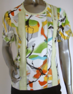 Pauporté - Short Sleeve Top, Multi. Lime-Orange-Yellow / Code:11821-Lime-O